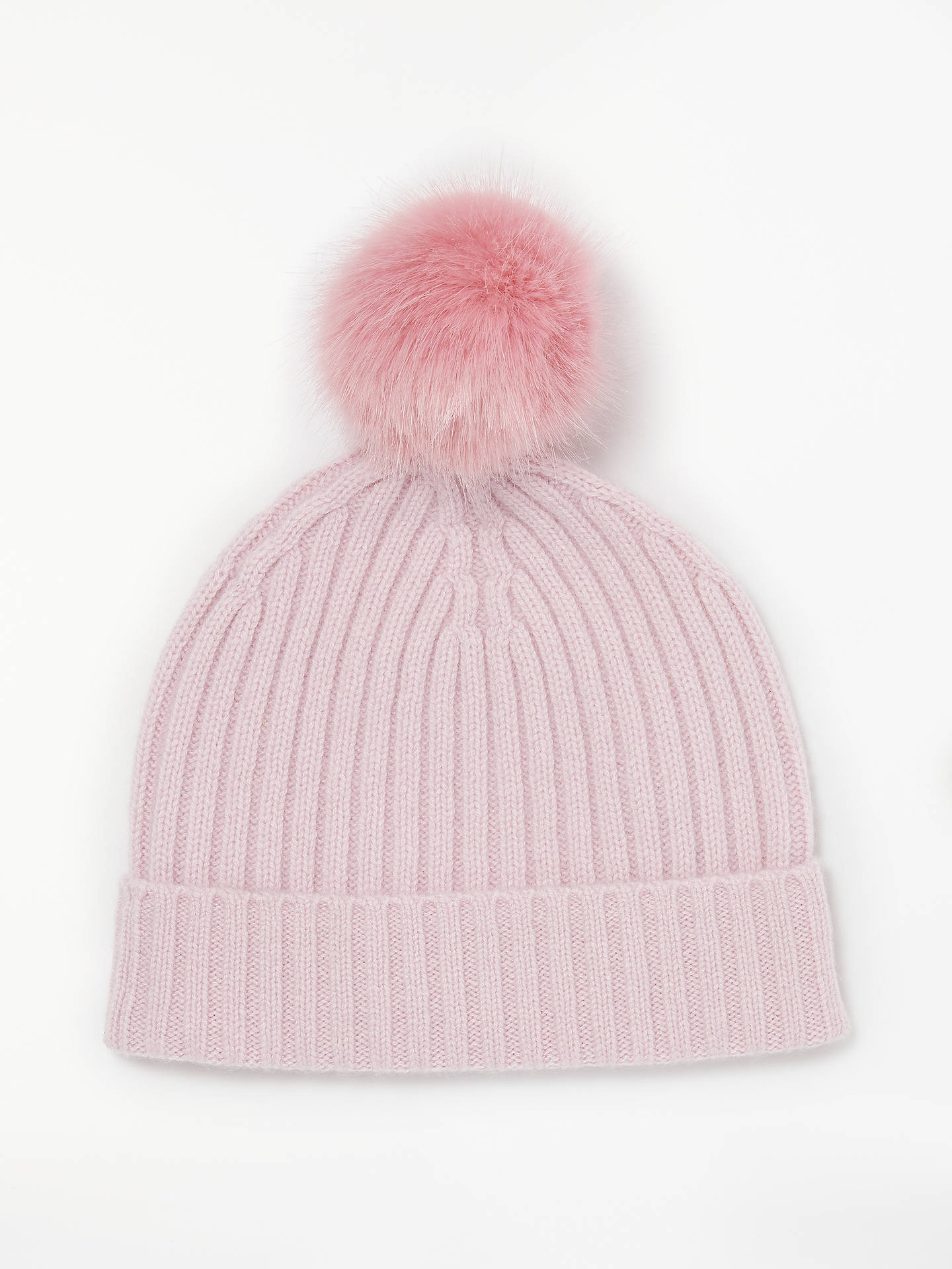 dd8a2fea9 Collection WEEKEND by John Lewis Ribbed Pom Pom Cashmere Beanie, Pink