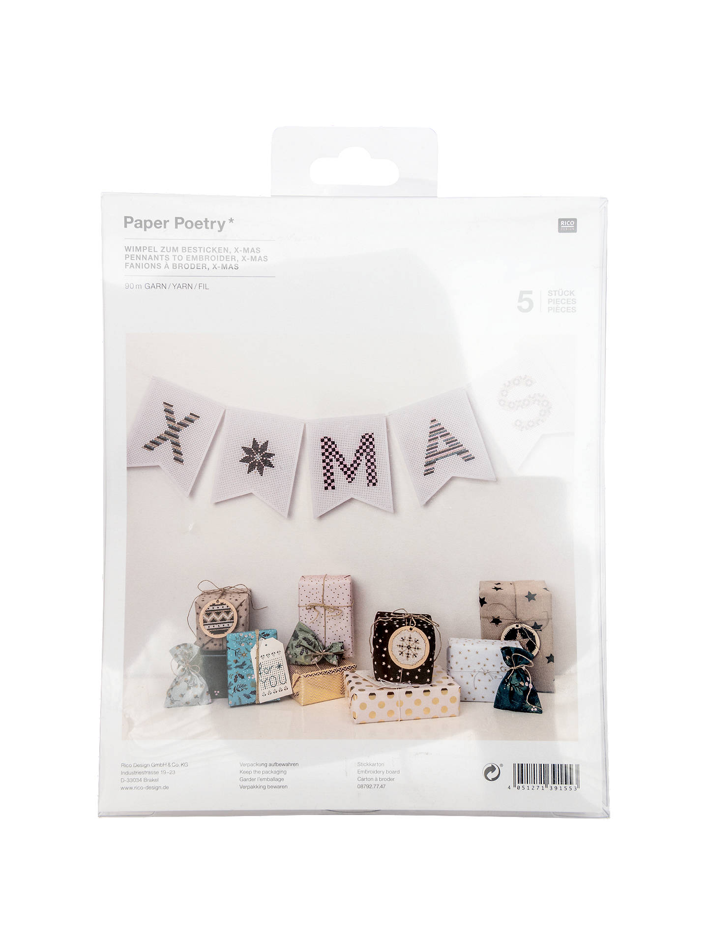 BuyRico Christmas Bunting Embroidery Kit Online at johnlewis.com