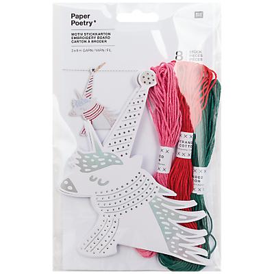 Product photo of Rico christmas unicorn embroidery kit