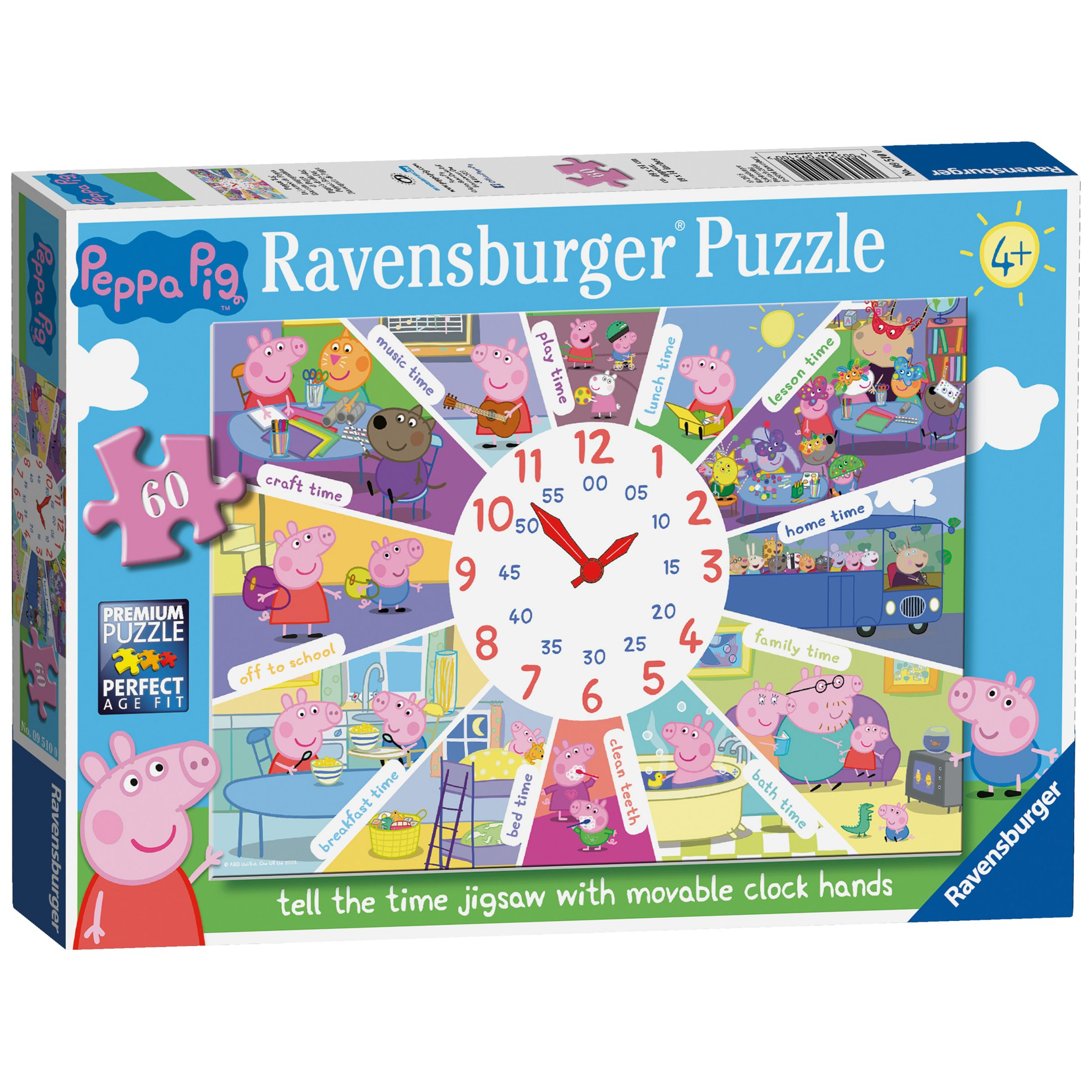 Peppa Pig Peppa Pig Tell The Time Jigsaw Puzzle, 60 Pieces