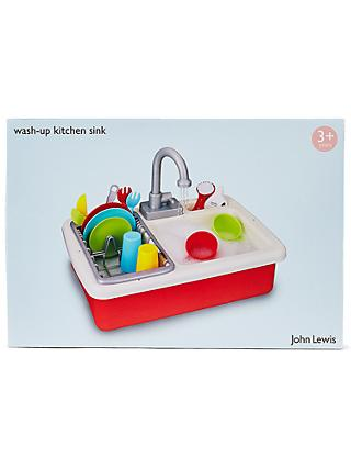 John Lewis & Partners Wash Up Kitchen Sink Playset, Red