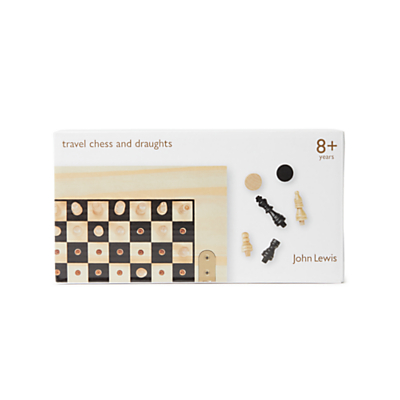 Image of John Lewis & Partners Chess & Draughts Wooden Travel Game