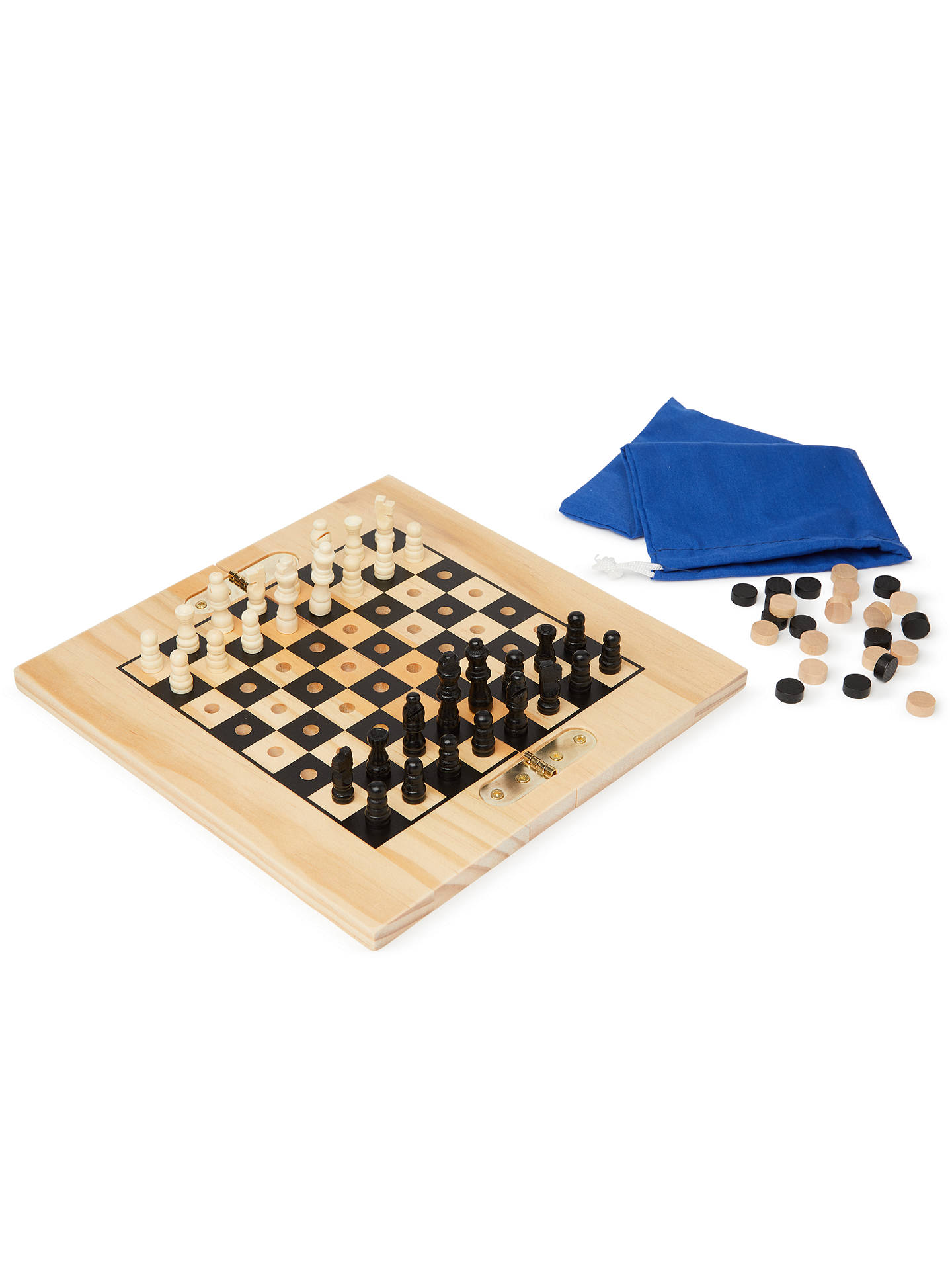 BuyJohn Lewis & Partners Chess & Draughts Wooden Travel Game Online at johnlewis.com