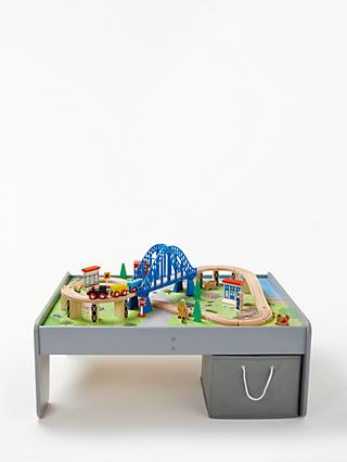 John Lewis & Partners Wooden Train Table 55 Pieces