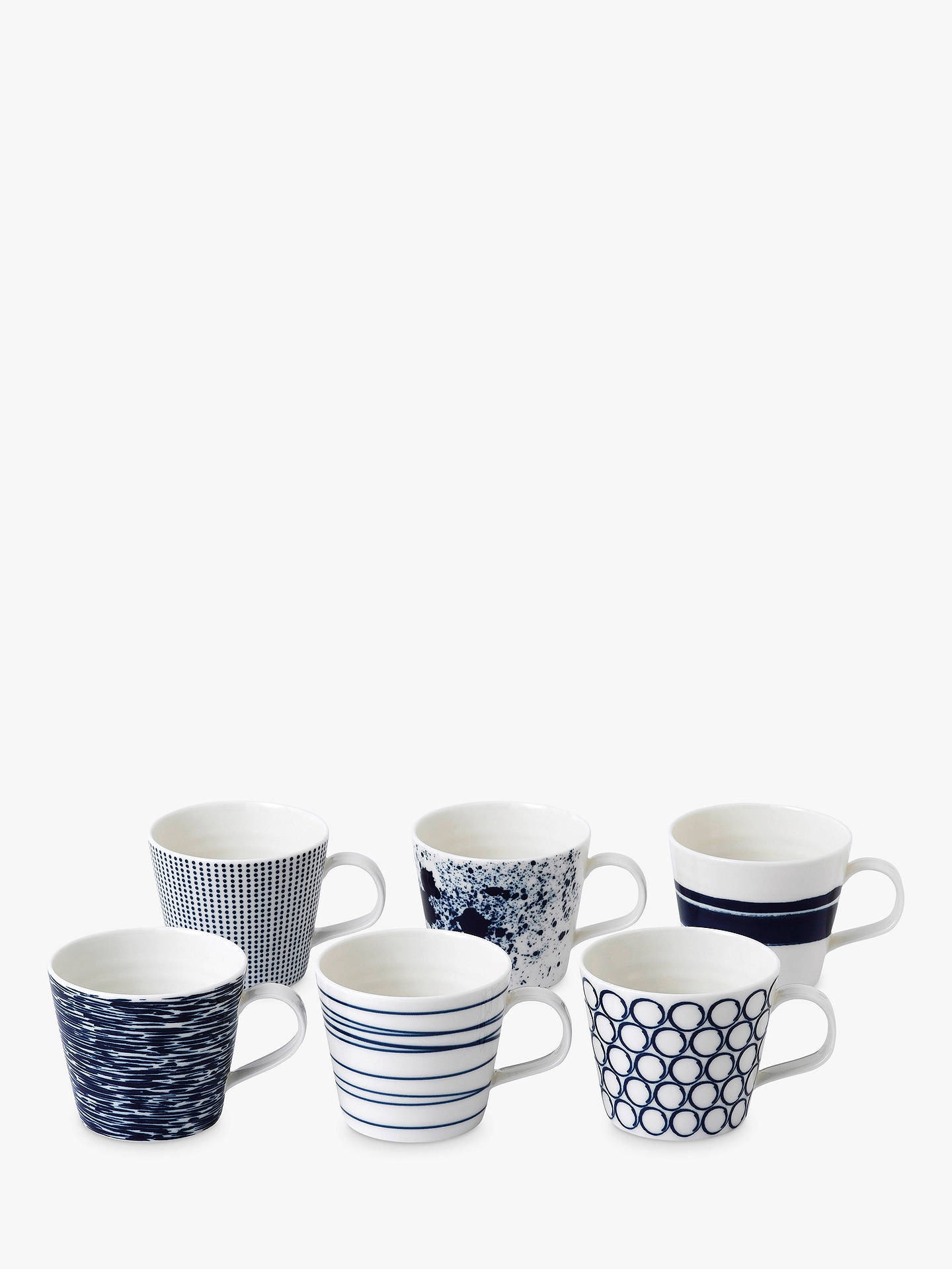 Buy Royal Doulton Pacific Porcelain Small Mugs, 260ml, Assorted, Set of 6, Blue/White Online at johnlewis.com