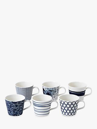 Royal Doulton Pacific Porcelain Small Mugs, 260ml, Assorted, Set of 6, Blue/White