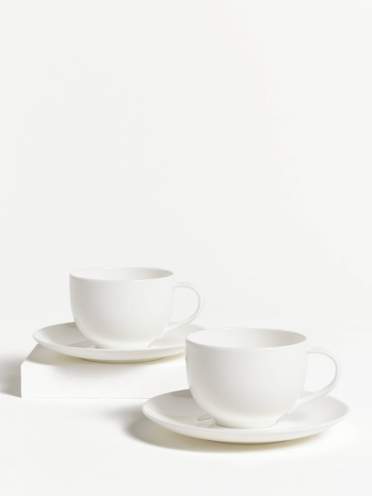 Buy John Lewis & Partners Cup & Saucer, 320ml, Set of 2, White Online at johnlewis.com