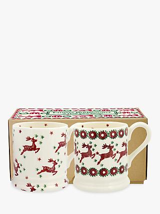Emma Bridgewater Reindeer Half Pint Mugs, Set of 2, 284ml