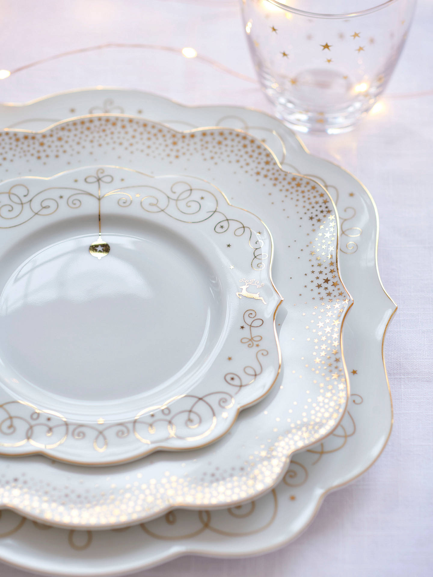 BuyPiP Studio Royal Christmas Plate, White/Gold, 17cm Online at johnlewis.com