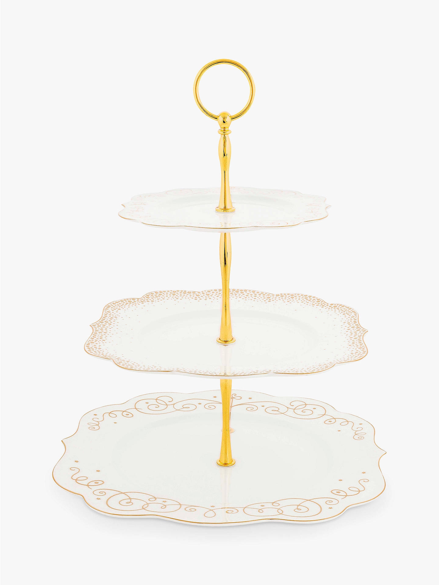 Buy PiP Studio Royal Christmas 3-Tier Cake Stand, White/Gold Online at johnlewis.com