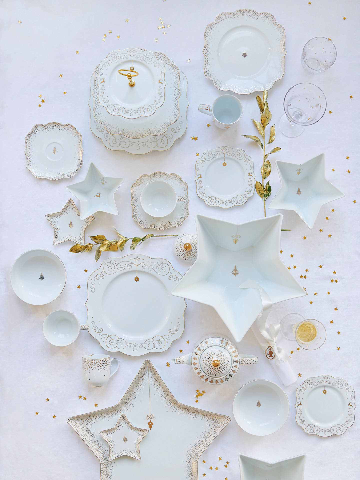 Buy PiP Studio Royal Christmas Petit Four Plate, White/Gold, 9.3cm Online at johnlewis.com