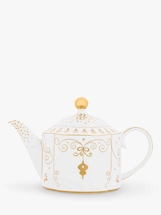 Buy PiP Studio Royal Christmas 6 Cup Teapot, White/Gold, 900ml Online at johnlewis.com