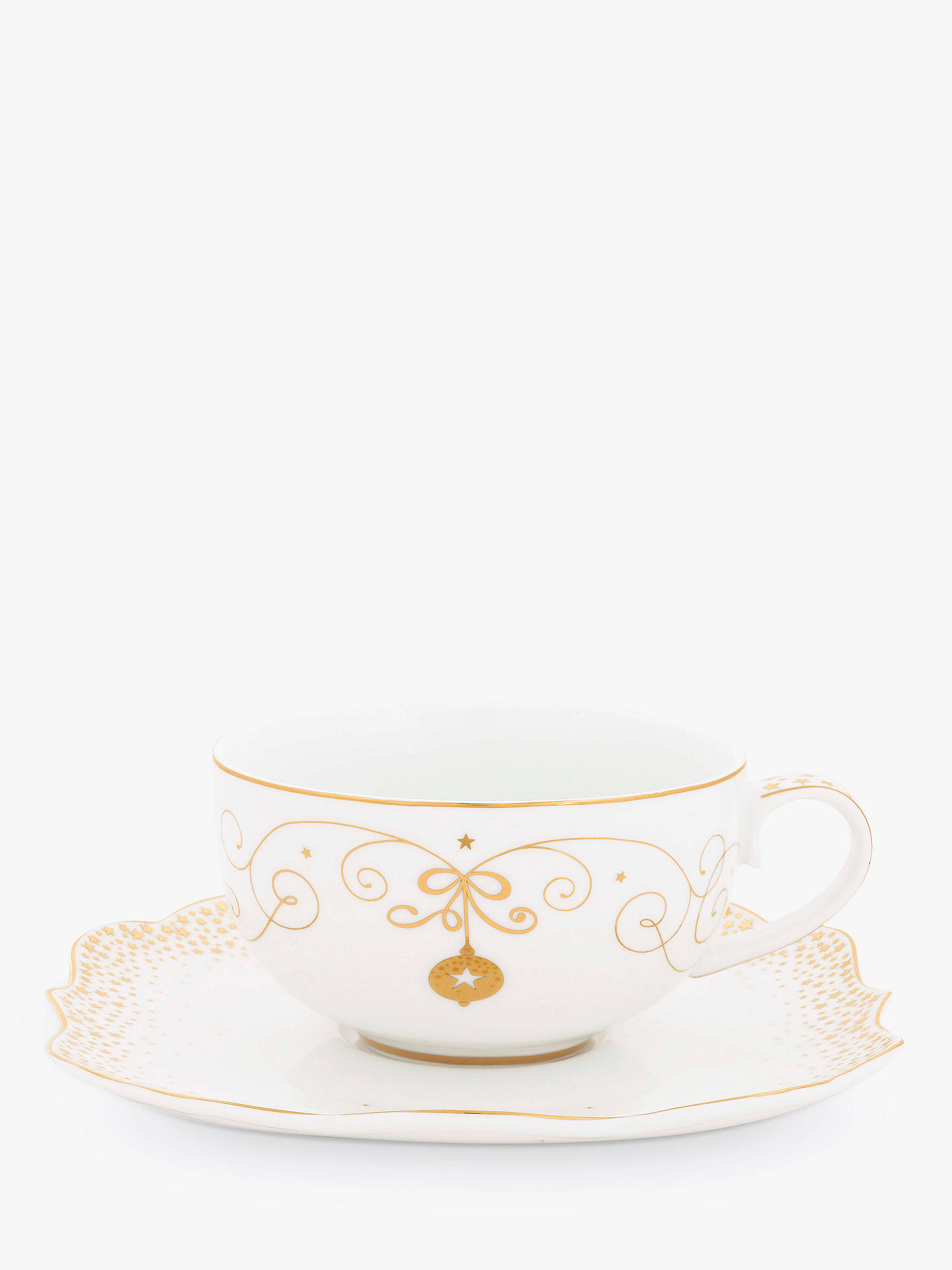 BuyPiP Studio Royal Christmas Tea Cup & Saucer, White/Gold, 225ml Online at johnlewis.com