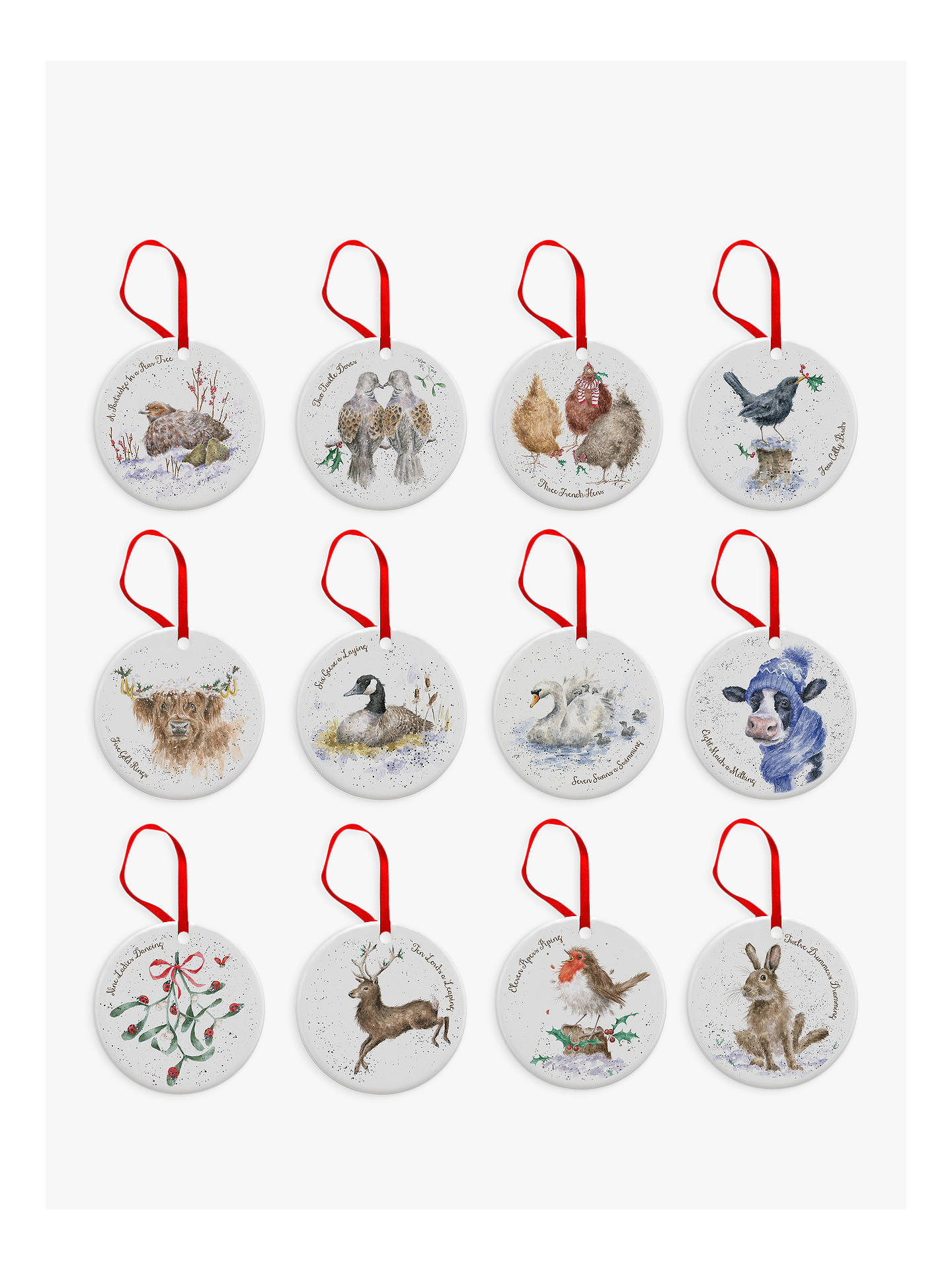 BuyRoyal Worcester Wrendale 12 Days of Christmas Tree Decorations, Set of 12 Online at johnlewis.com