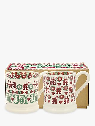 Emma Bridgewater Christmas Joy Half Pint Mugs, Set of 2, 284ml