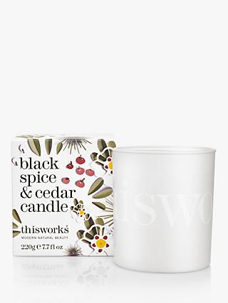 This Works Black Spice & Cedar Scented Candle, Limited Edition, 220g