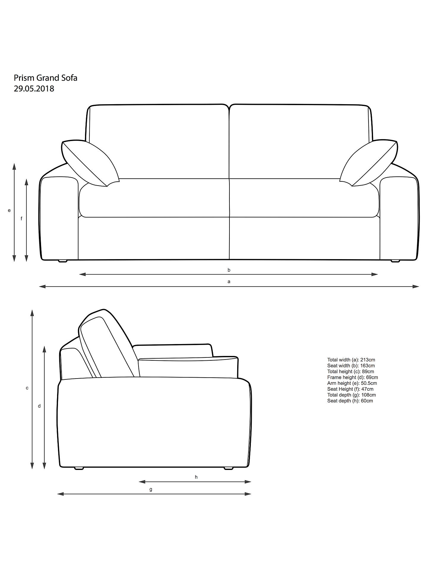 John Lewis & Partners Prism Grand 4 Seater Sofa Light Leg Windsor