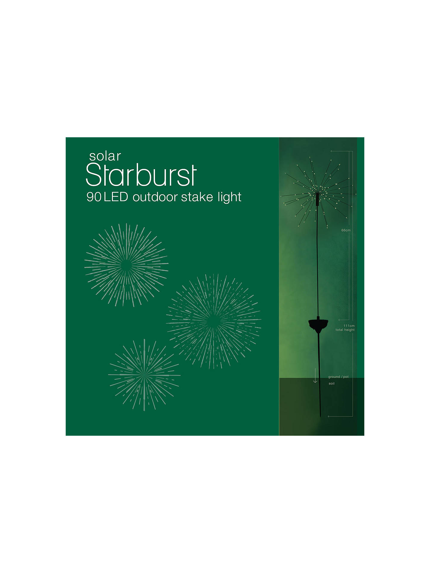 BuyThink Gadgets Starburst Solar LED Outdoor Stake Light, Black Online at johnlewis.com