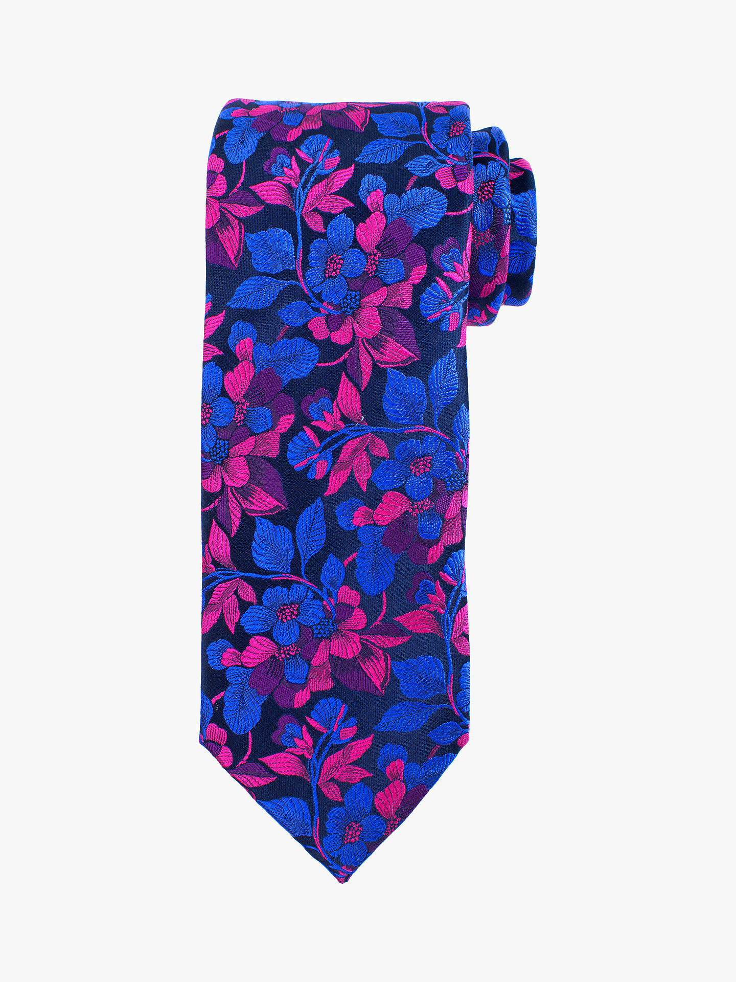 BuyJohn Lewis & Partners Floral Silk Tie, Blue Online at johnlewis.com