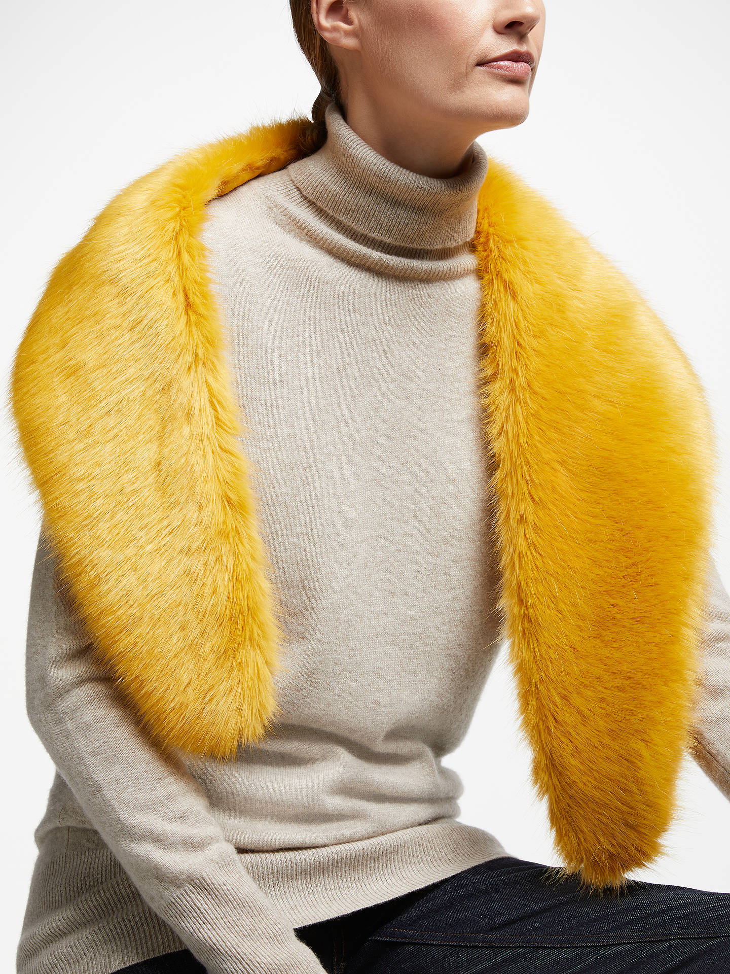 BuyJohn Lewis & Partners Faux Fur Shawl, Yellow Online at johnlewis.com