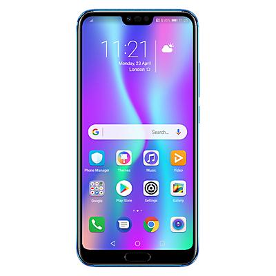 "Image of Honor 10 Smartphone, Android, 5.84"", 4G LTE, SIM Free, 128GB, Phantom Blue and Honor Sport Bluetooth Earphones, Blue, Bundle"