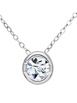 Mogul 9ct White Gold Diamond Round Pendant Necklace, 0.15ct