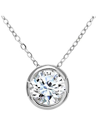 Mogul 9ct White Gold Diamond Round Pendant Necklace, 0.50ct