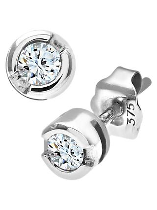 Mogul 9ct White Gold Diamond Round Stud Earrings, 0.25ct