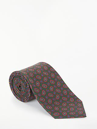 John Lewis & Partners Made in Italy Mini Paisley Silk Tie, Green