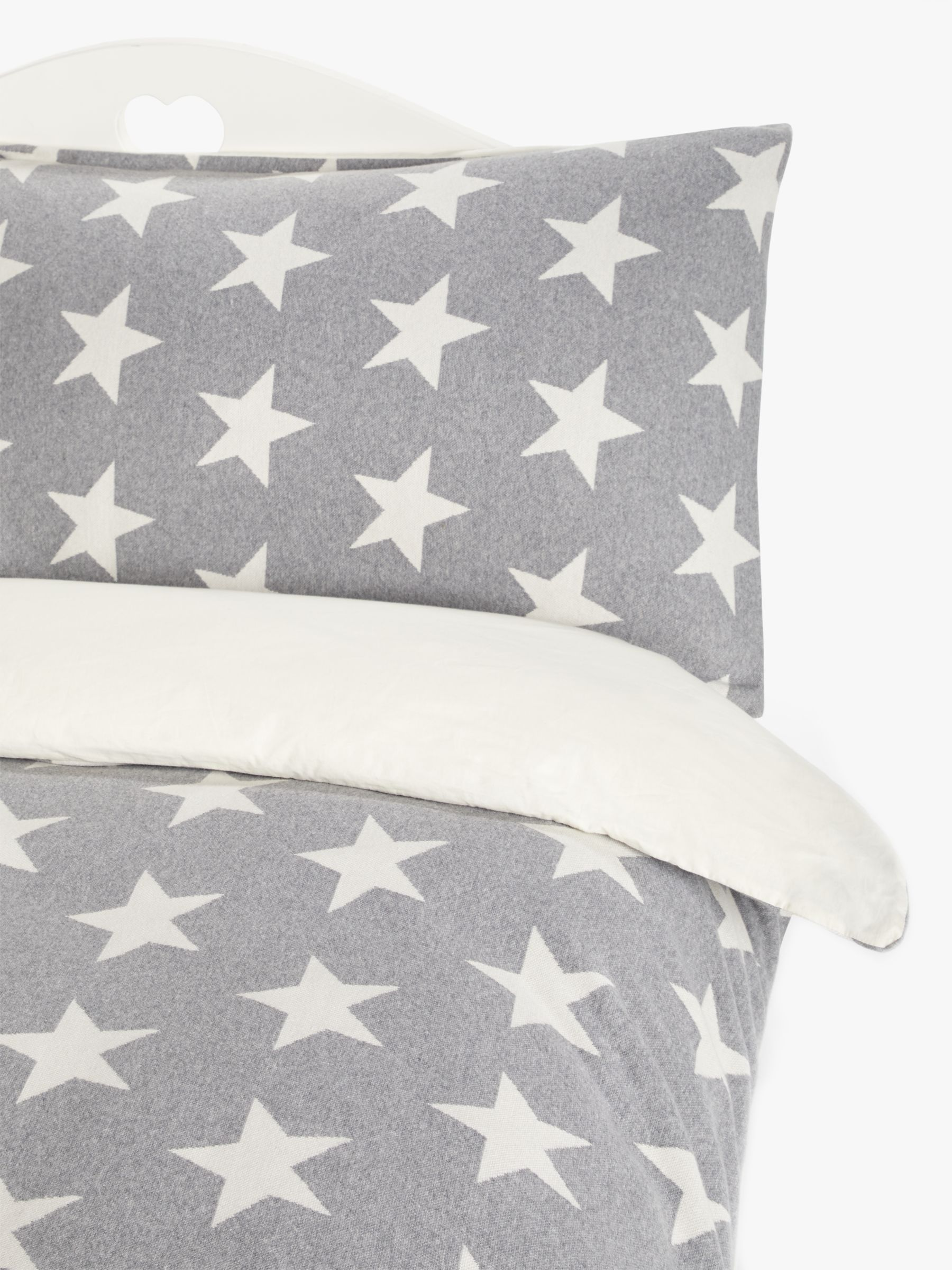 little home at John Lewis Star Knitted Cotton Duvet Cover and Pillowcase Set, Single
