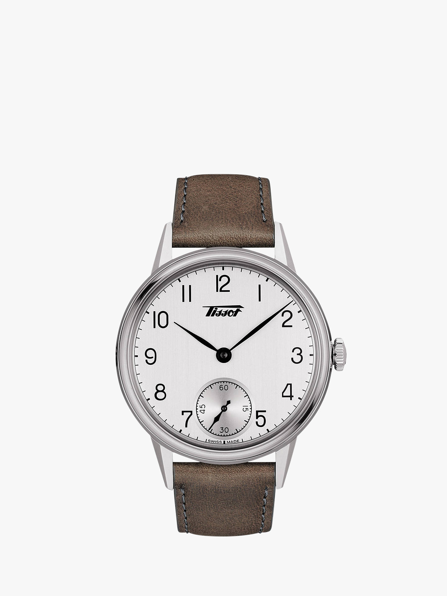 BuyTissot T1194051603701 Men's Heritage Leather Strap Watch, Brown/White Online at johnlewis.com