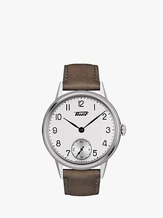 Tissot T1194051603701 Men's Heritage Leather Strap Watch, Brown/White