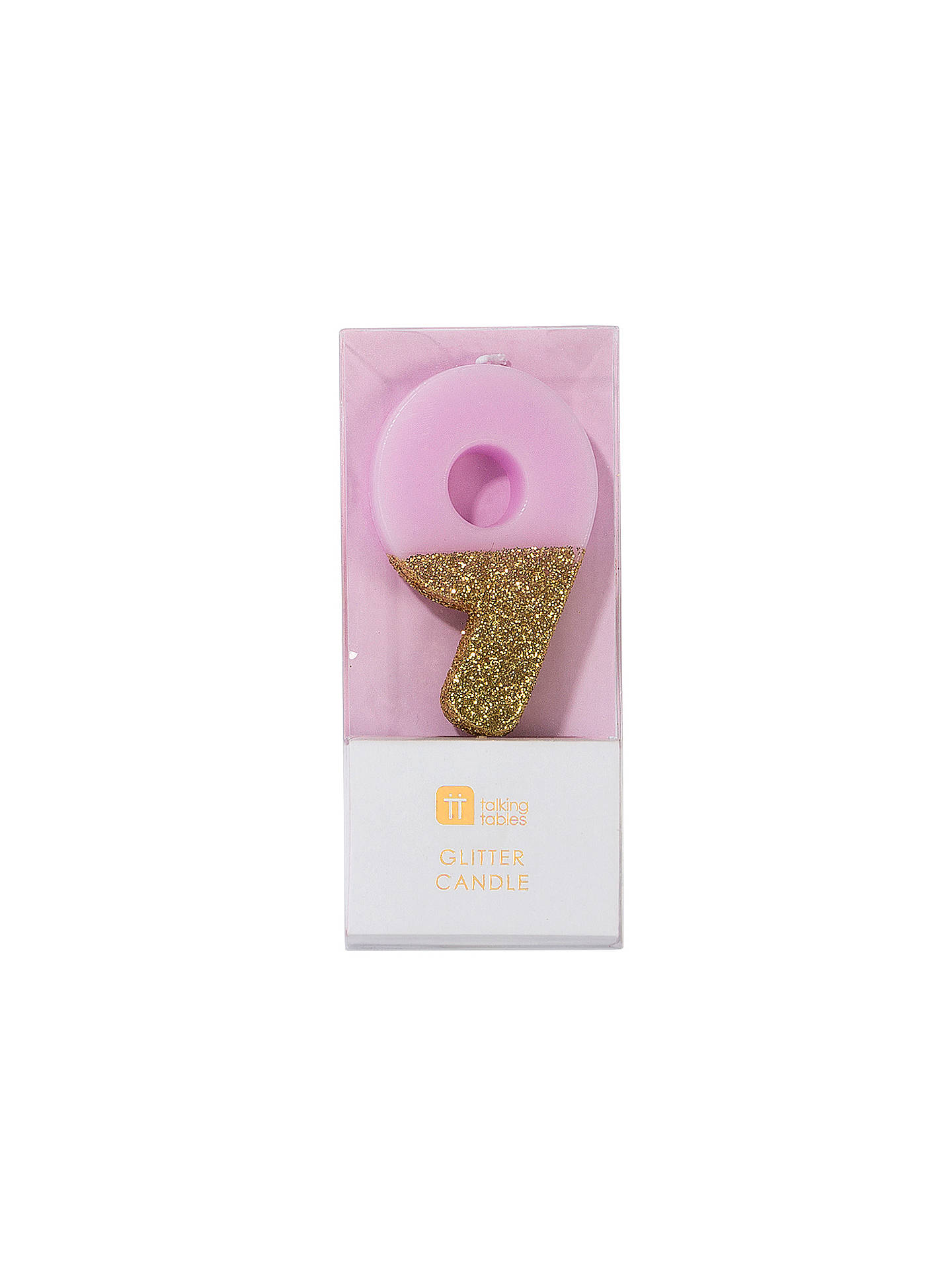 Buy Talking Tables Pink Glitter Birthday Candle, No. 9 Online at johnlewis.com
