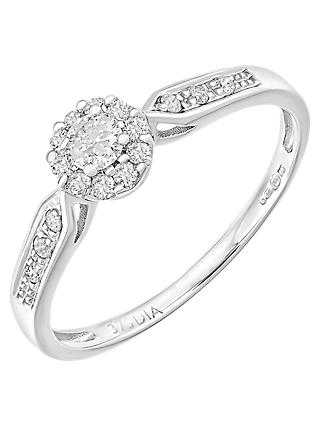 Mogul 9ct White Gold Halo Diamond Engagement Ring, 0.25ct