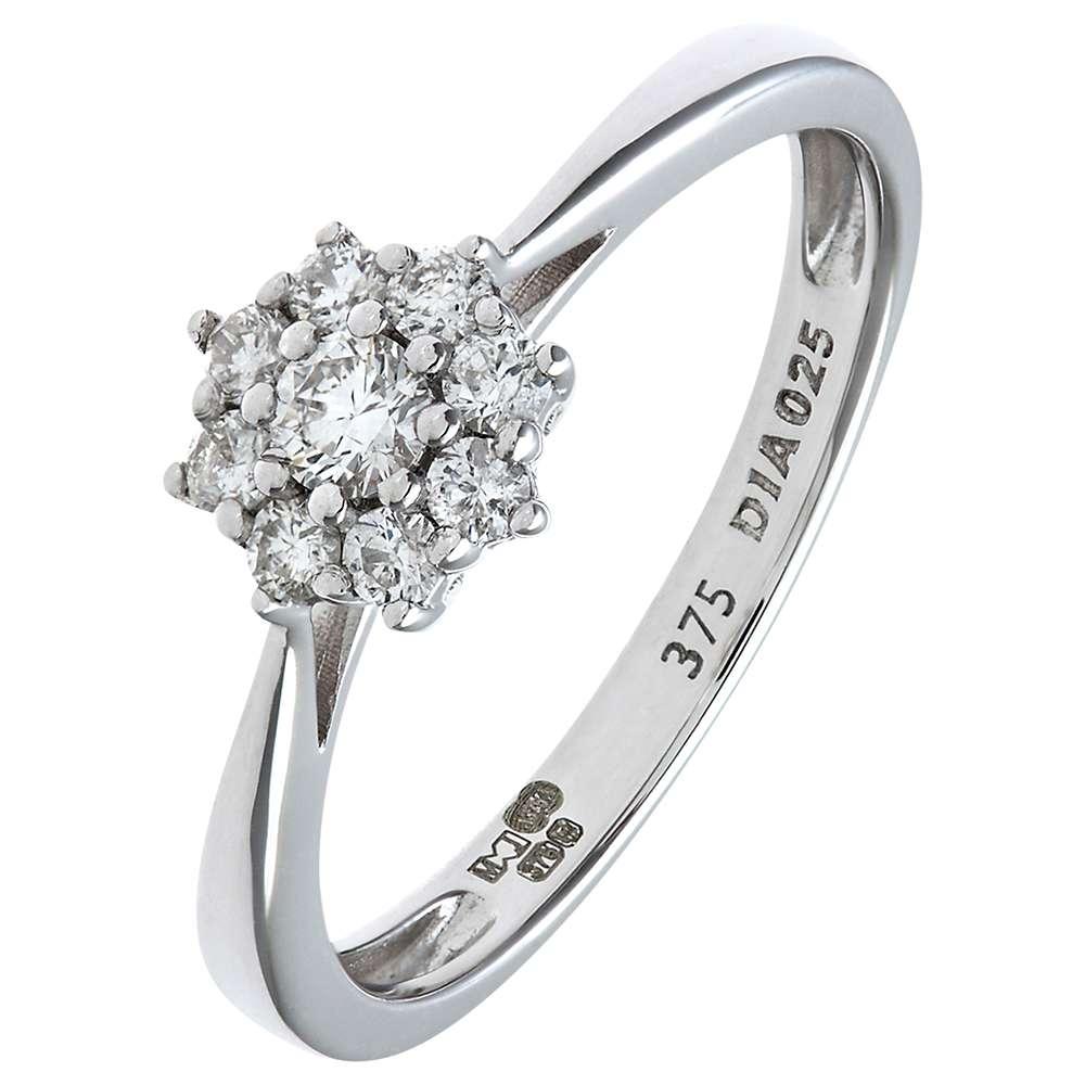 Mogul 9ct White Gold Diamond Cluster Engagement Ring, 0.25ct at John Lewis  & Partners