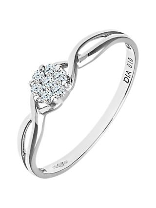Mogul 9ct White Gold Fancy Cluster Diamond Engagement Ring, 0.10ct