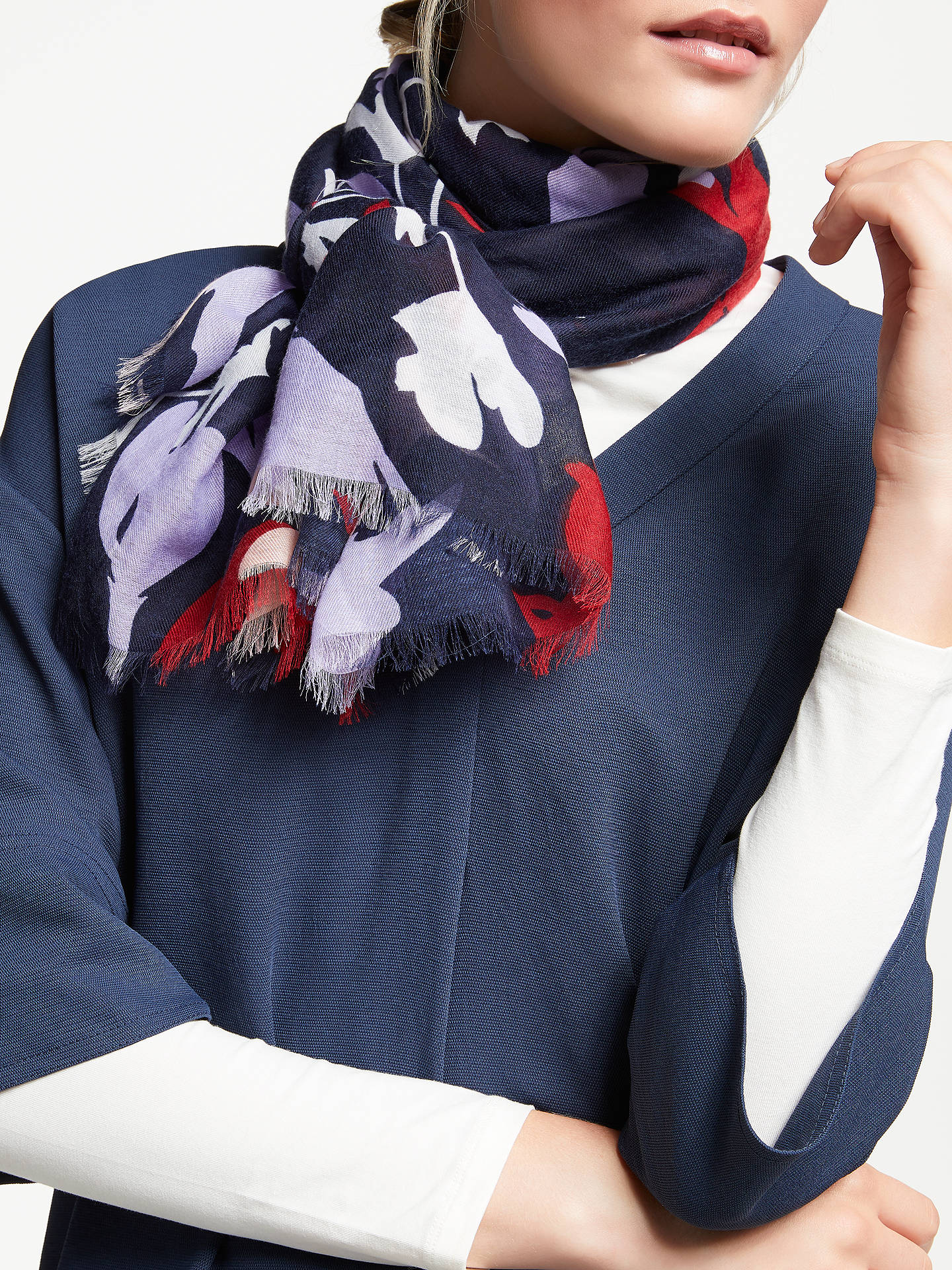 BuyJohn Lewis & Partners Colour Block Floral Print Scarf, Navy/Multi Online at johnlewis.com
