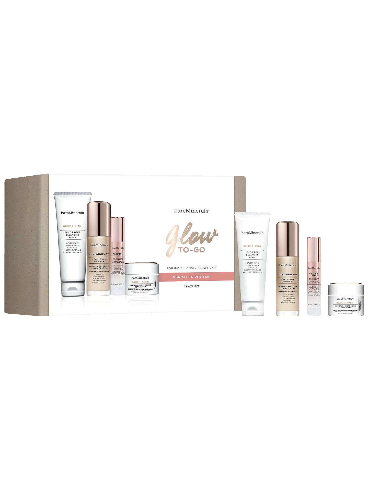 BuybareMinerals Glow To Go Travel Size Skincare Gift Set, Normal/Dry Skin Online at johnlewis.com