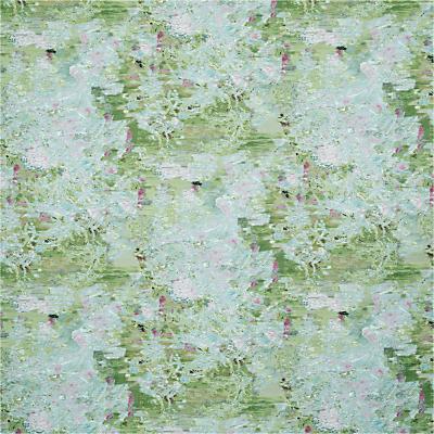 John Lewis & Partners Lottie Embroidery Furnishing Fabric, Green / Pink