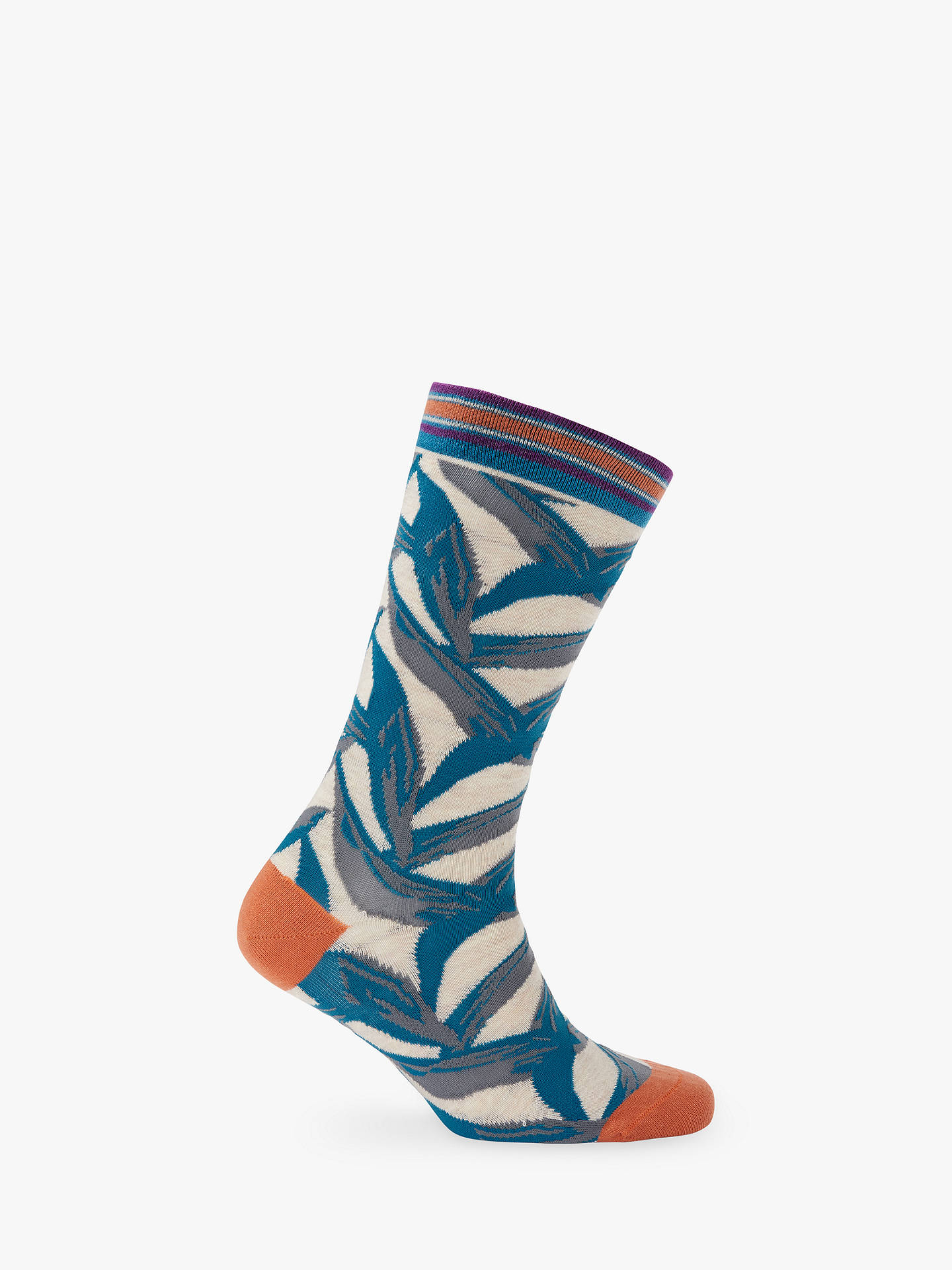 BuyTed Baker Leonin Leaf Socks, One Size, Teal Blue Online at johnlewis.com