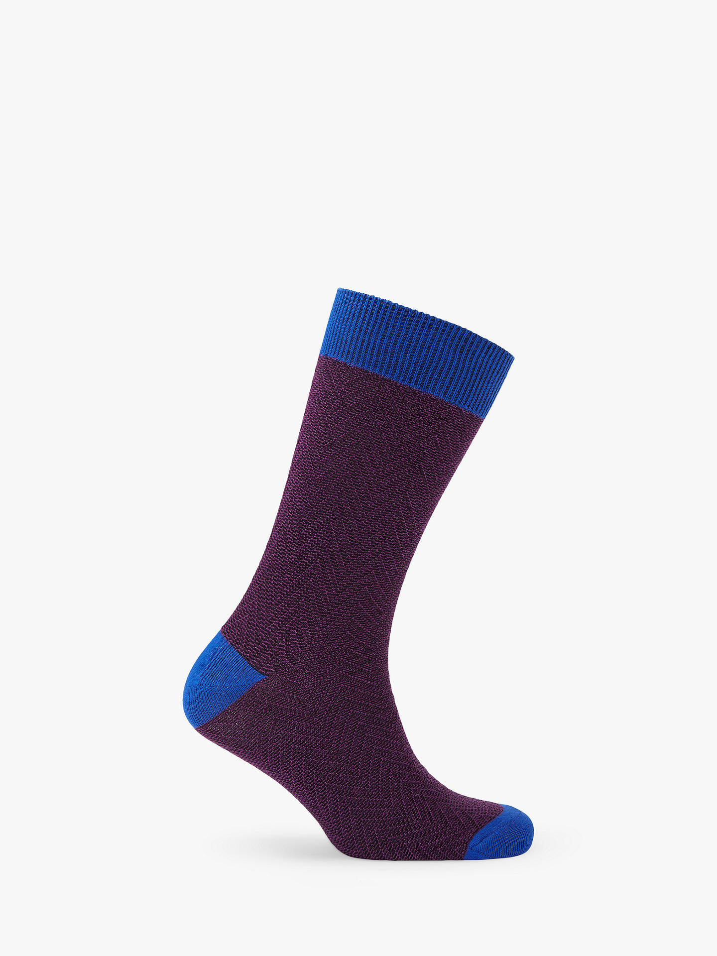 BuyTed Baker Doni Contrast Heringbone Socks, One Size, Purple Online at johnlewis.com