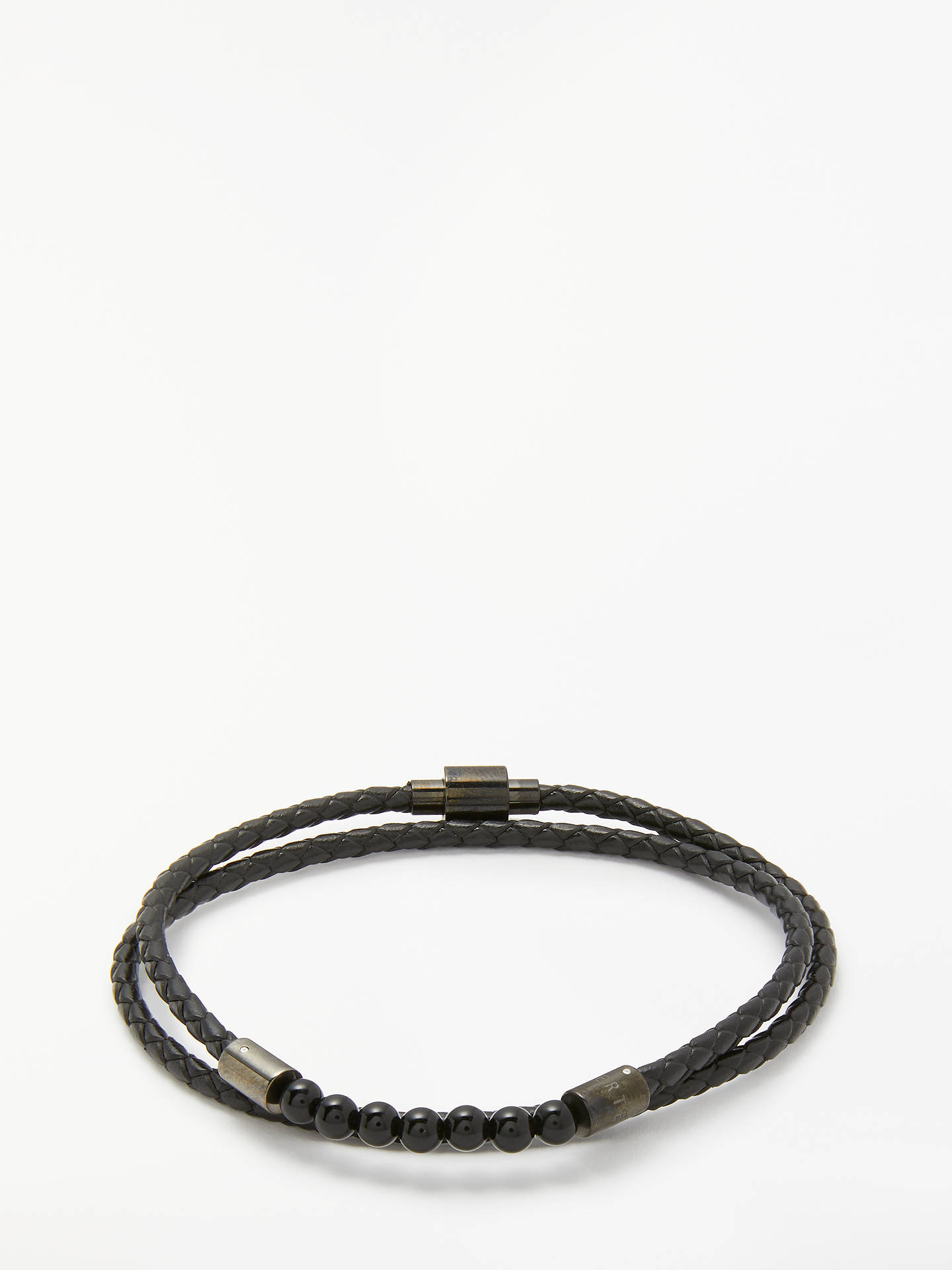 Buy Ted Baker Lizaa Beaded Leather Double Wrap Bracelet, Black Online at johnlewis.com