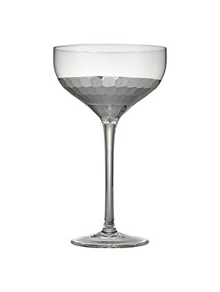 John Lewis & Partners Gleam Hammered Coupe Glass, 350ml, Clear