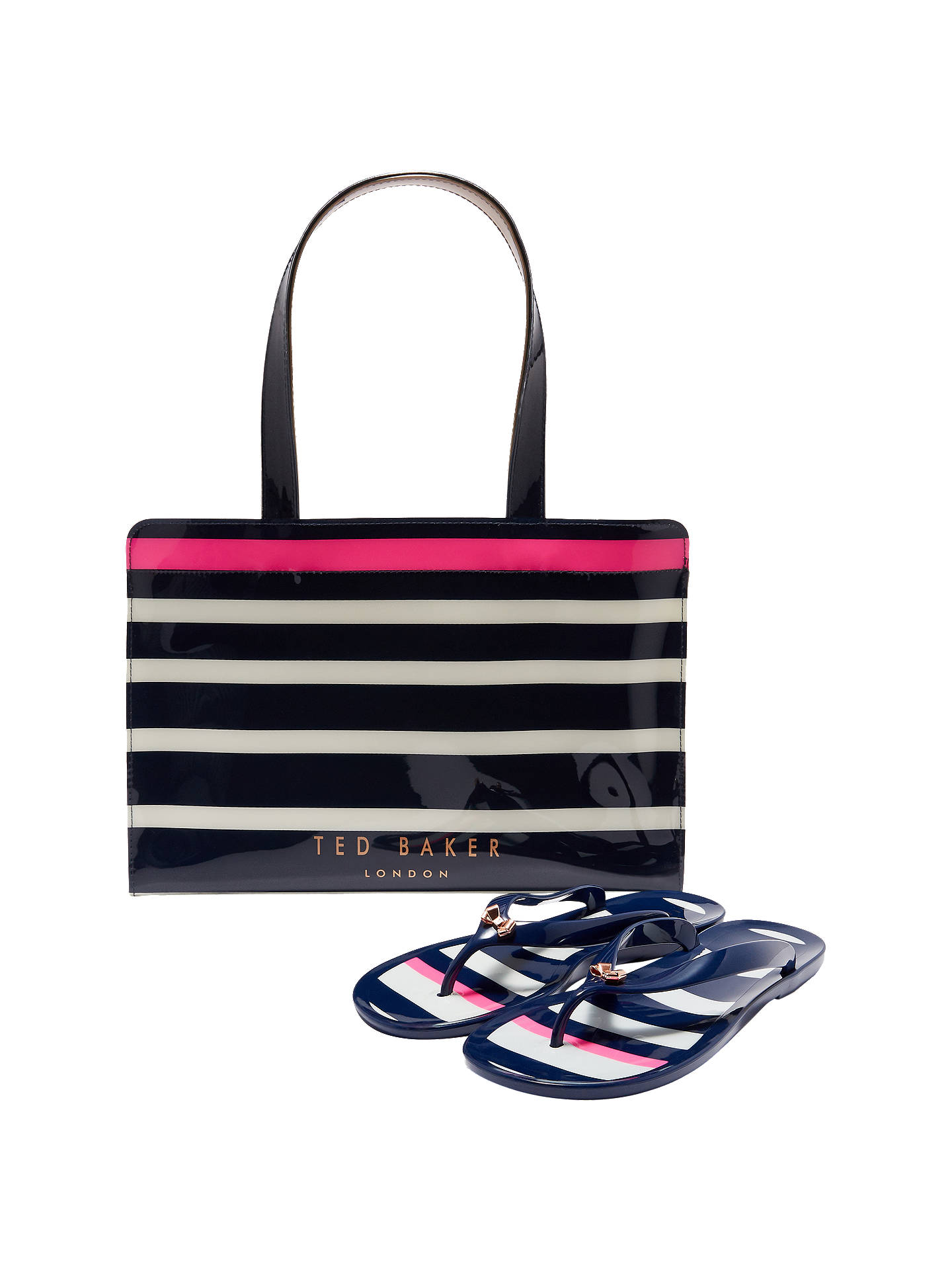 1d3b6b12d34c Buy Ted Baker Ned Striped Icon Bag and Flip Flop Set