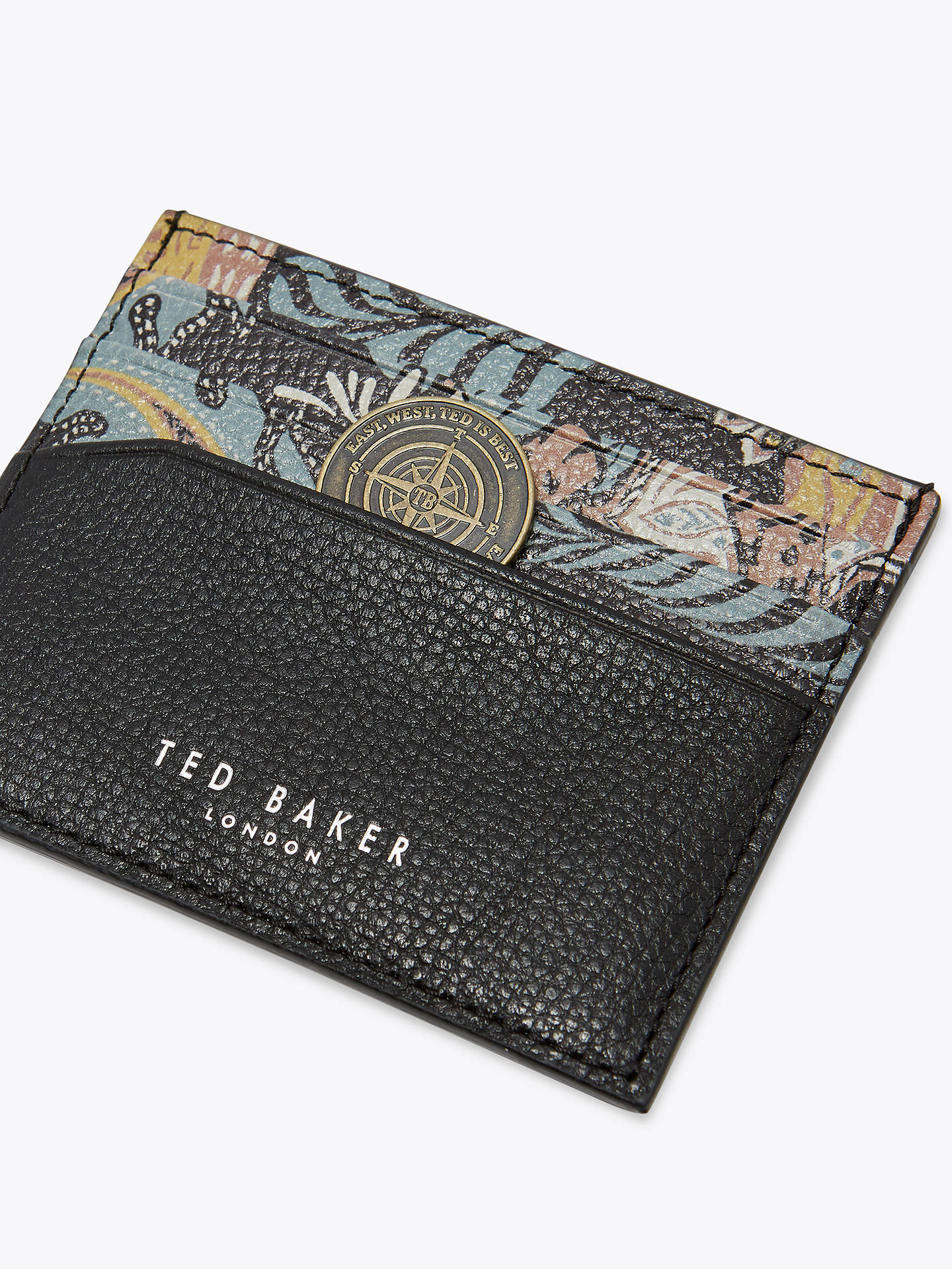 BuyTed Baker Plated Print Leather Card Holder, Black Online at johnlewis.com