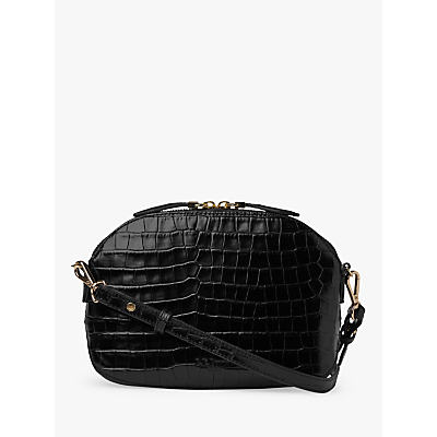 L.K.Bennett Candice Croc Embossed Leather Shoulder Bag, Black