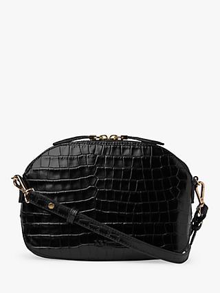 L K Bennett Candice Croc Embossed Leather Shoulder Bag Black