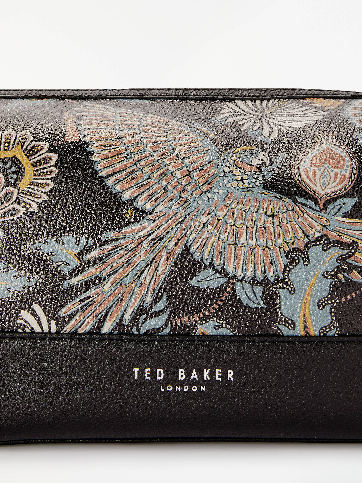 Buy Ted Baker Clubb Bird Print Leather Wash Bag, Black Online at johnlewis.com