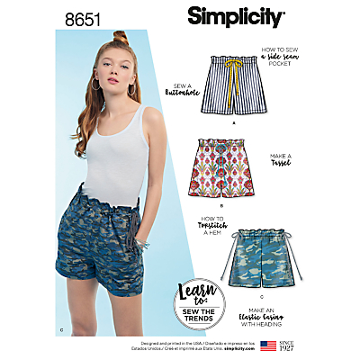 Image of Simplicity Learn To Sew Womens' Shorts Sewing Pattern, 8651