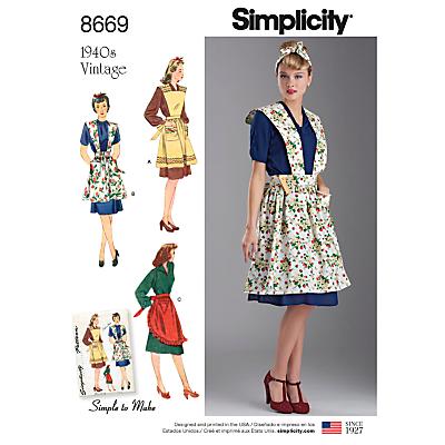 Image of Simplicity 1940's Vintage Apron Set Sewing Pattern, 8669, S-L